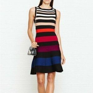 Karen Millen Colorblock Striped Rainbow Knit Dress